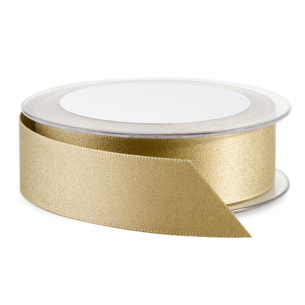 Glitter Double Satin Ribbon Gold