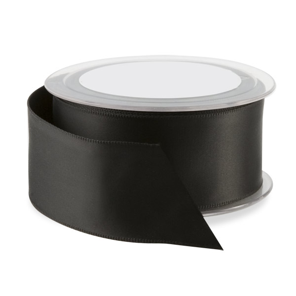 Double Face Satin Wired Ribbon Black