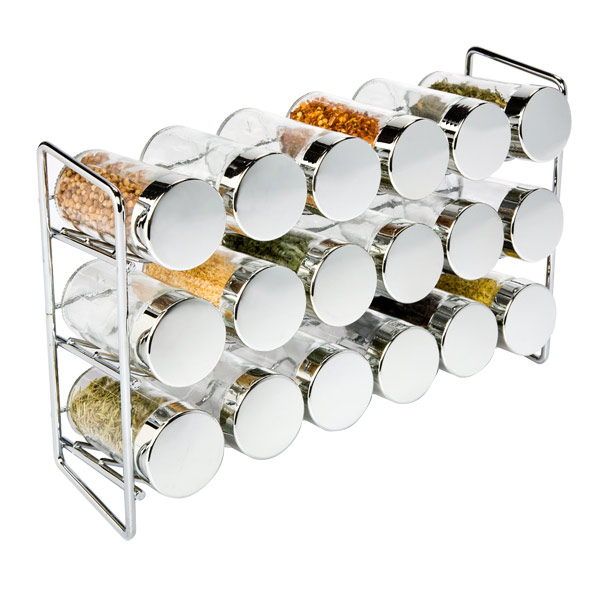 Chrome 18-Bottle Spice Rack