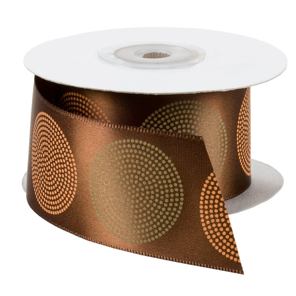 Roundabout Single-Faced Satin Ribbon Brown
