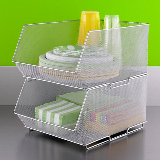 Silver Mesh Stacking Bins
