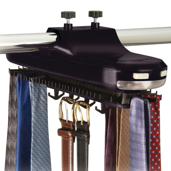 lighted revolving tie rack the container store. Black Bedroom Furniture Sets. Home Design Ideas