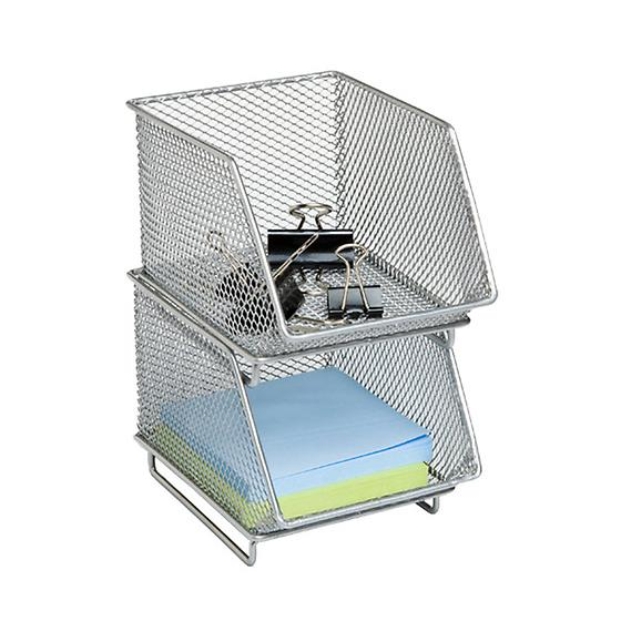 Silver Mesh Mini Stacking Bin