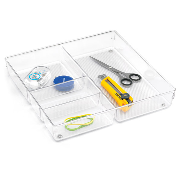 Linus 4 section drawer organizer the container store for Bathroom drawer organizer