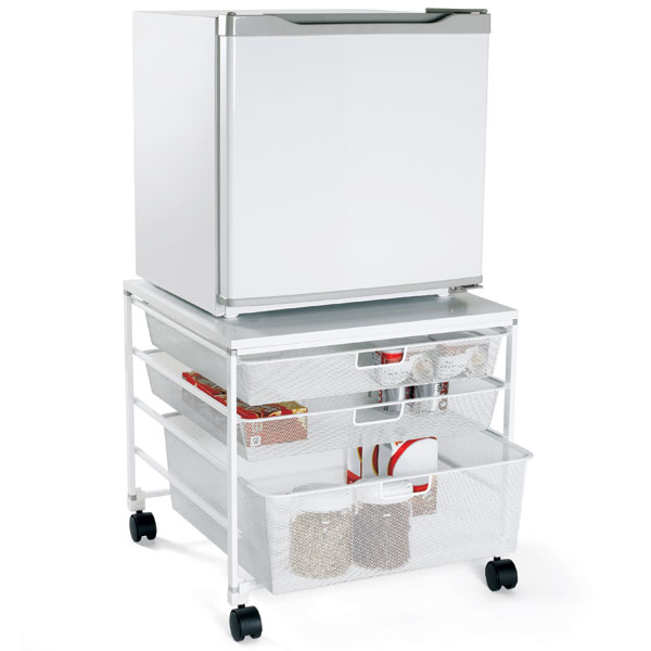 elfa Mesh Compact Fridge Cart White