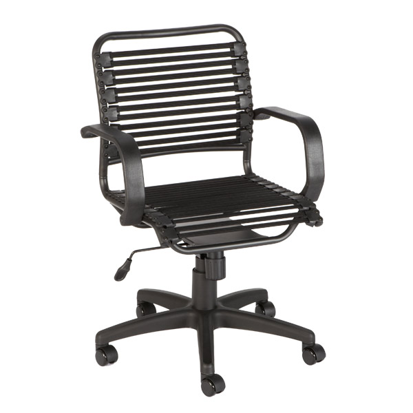 Black Flat Bungee Office Chair With Arms The Container Store
