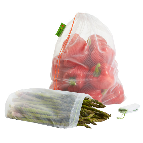 Reusable Produce Bags White Pkg/3