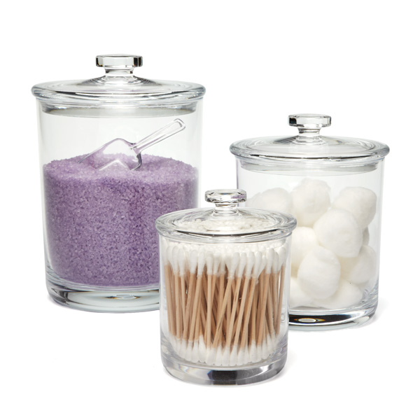 Bliss acrylic canisters the container store for Bathroom containers with lids