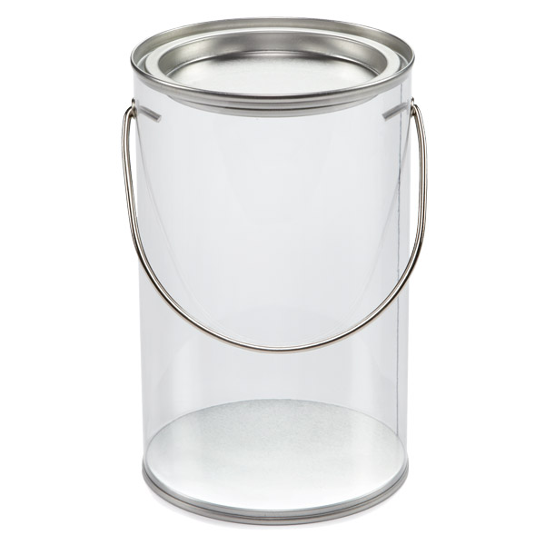 Small Clear Paint Can Silver Lid