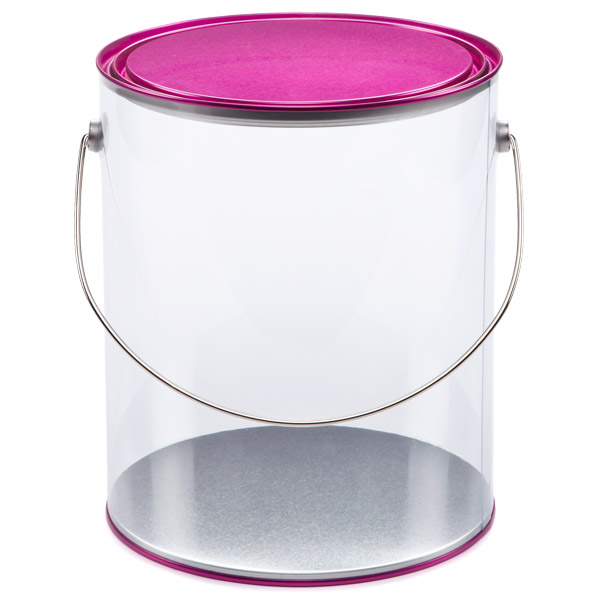 Large Clear Paint Can Fuchsia Lid