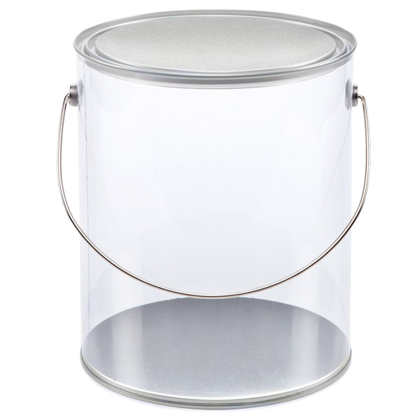 Large Clear Paint Can Silver Lid