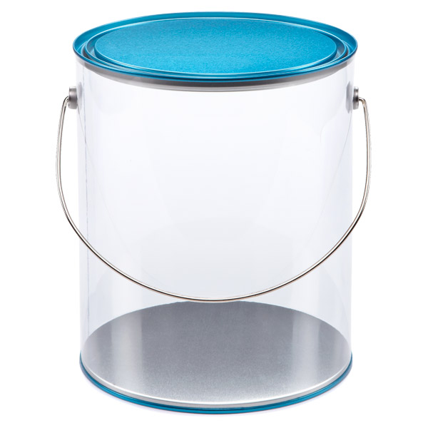 Large Clear Paint Can Blue Lid