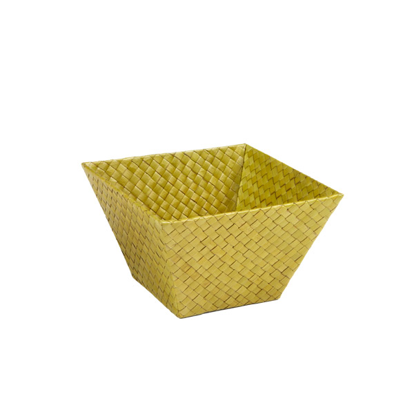 Small Square Pandan Basket Olive