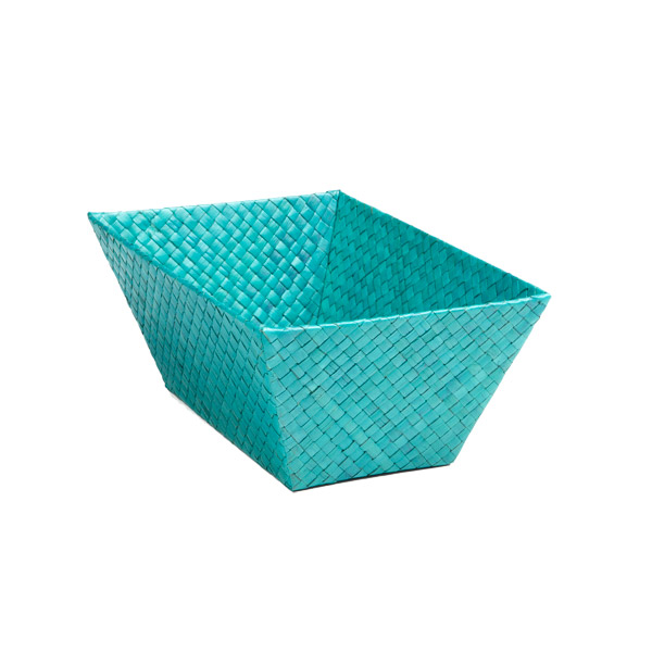 Small Rectangular Pandan Basket Turquoise