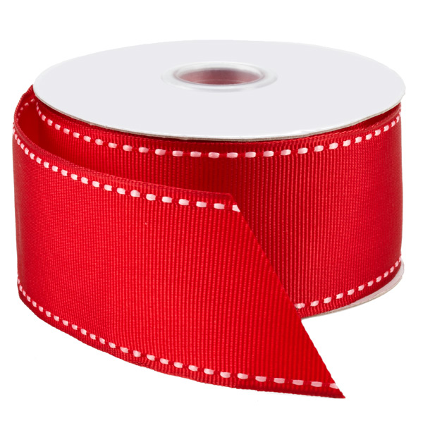 Ribbon Wired Grosgrain Red/White Stitch