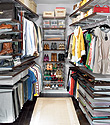 Walnut & Platinum elfa décor Walk-In Master Closet