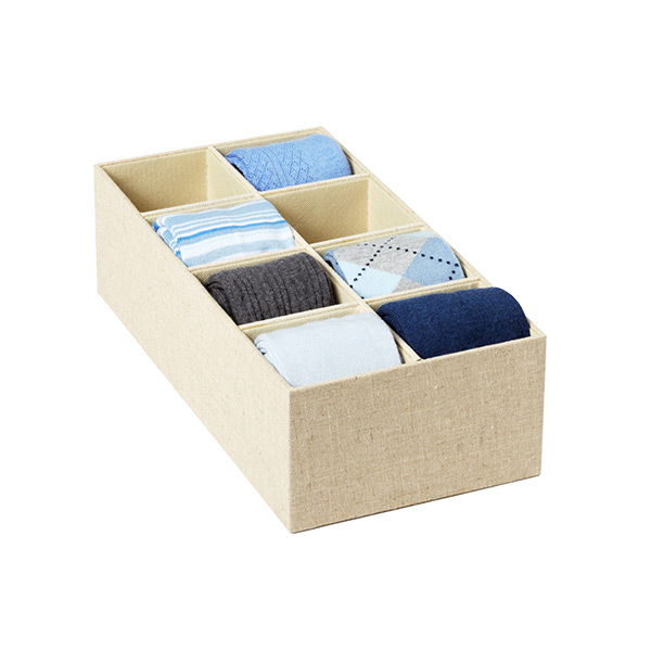 Narrow 8-Section Drawer Organizer Linen