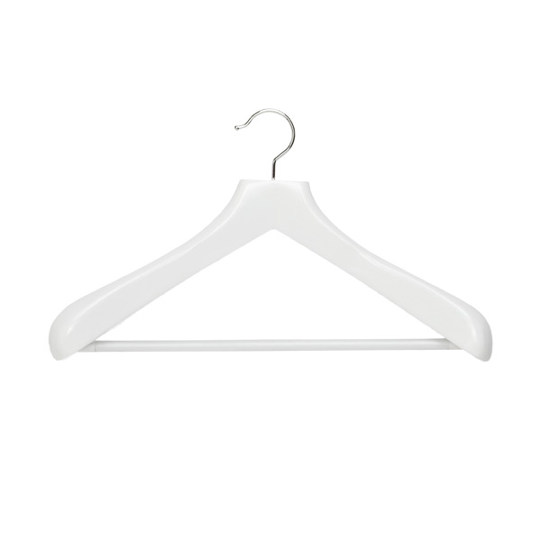 Superior Coat Hanger with Ribbed Bar White