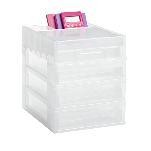 3-Drawer Desktop Organizer Clear