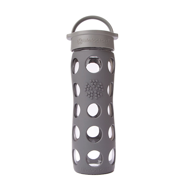 16 oz. Glass & Silicone Bottle Grey