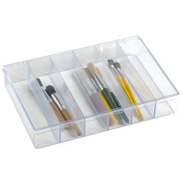 "13-1/8"" x 9"" Clear 6-Compartment Box"
