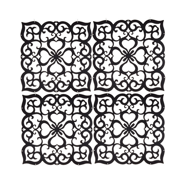 Decor Screen Panels Black Filigree Pkg/4