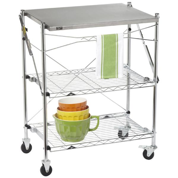 InterMetro Folding Chef's Cart Chrome/Stainless