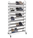 Chrome 10-Tier Rolling Shoe Rack