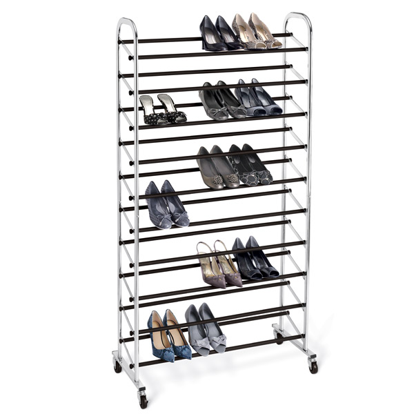 10-Tier Rolling Shoe Rack Chrome
