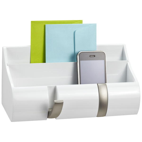 Piano White Wall-Mount Cubby Organizer by Umbra