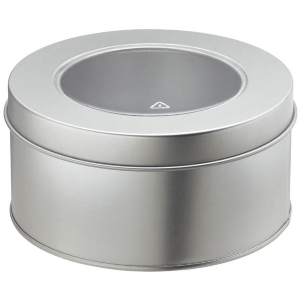 Round Tin with Window Silver