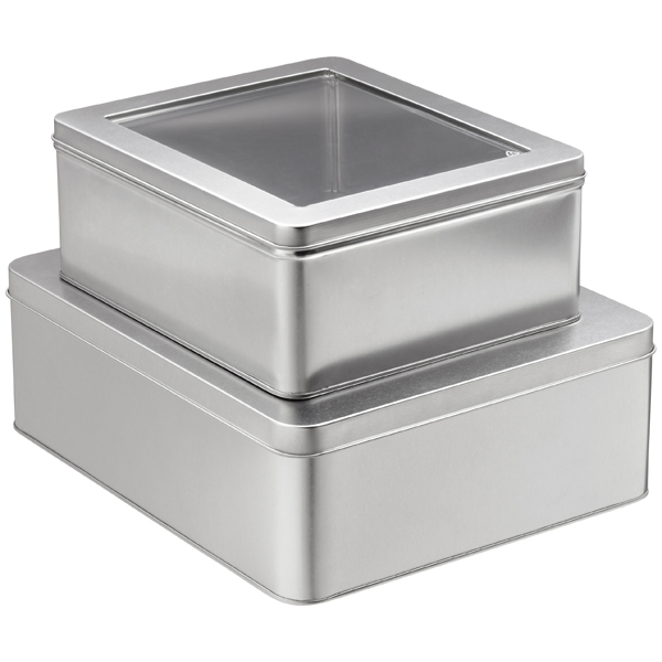 Silver Rectangular Tins With Windows The Container Store