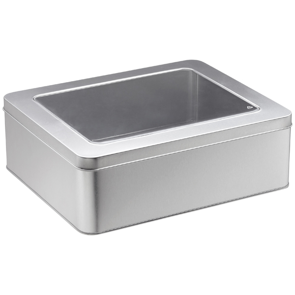 XL Rectangular Tin with Window Silver