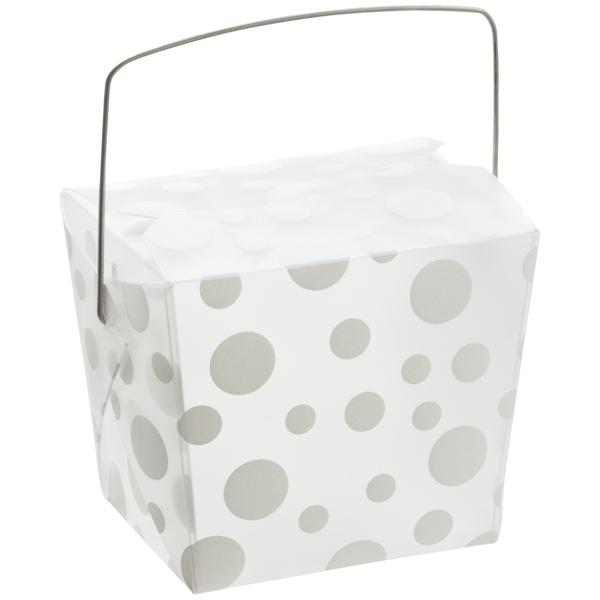 8 oz. Take Out Carton White Polka Dot