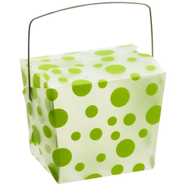 8 oz. Take Out Carton Lime Polka Dot