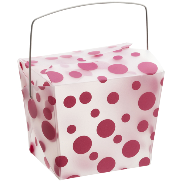 8 oz. Take Out Carton Fuchsia Polka Dot