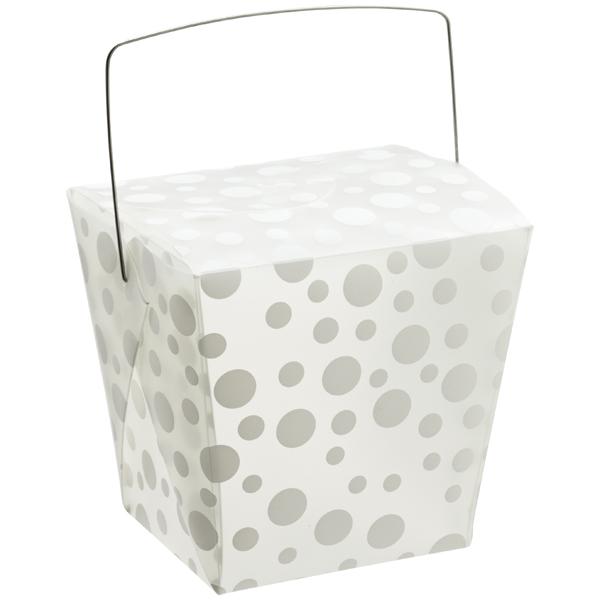 32 oz. Take Out Carton White Polka Dot