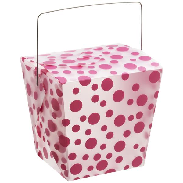 32 oz. Take Out Carton Fuchsia Polka Dot