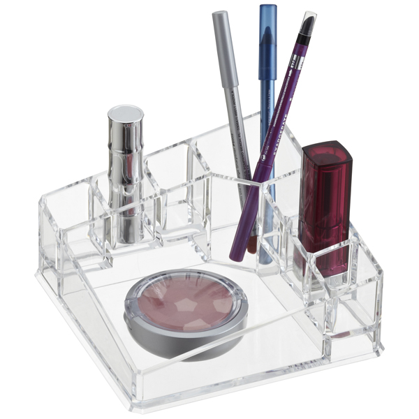 acrylic corner cosmetic organizer the container store. Black Bedroom Furniture Sets. Home Design Ideas