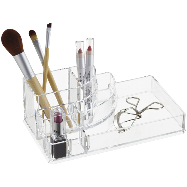 deco acrylic cosmetic organizer the container store. Black Bedroom Furniture Sets. Home Design Ideas