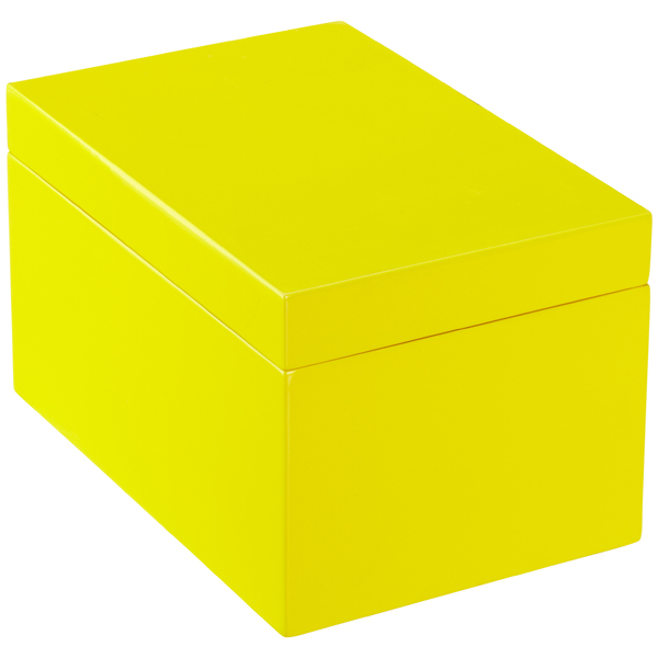 Large Lacquered Rectangular Box Yellow