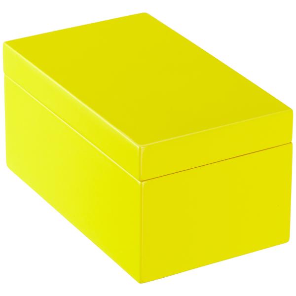 Medium Lacquered Rectangular Box Yellow