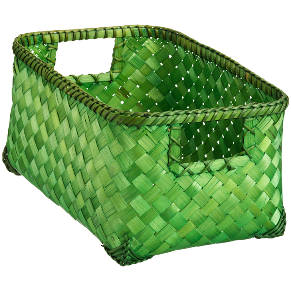 Small Weave Bin Green