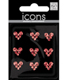 Mini Heart Rhinestone Stickers Red Pkg/9