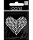Large Heart Rhinestone Sticker Silver Pkg/1