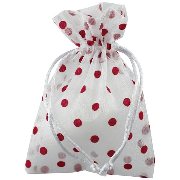 Flocked Dots Sheer Sack Red