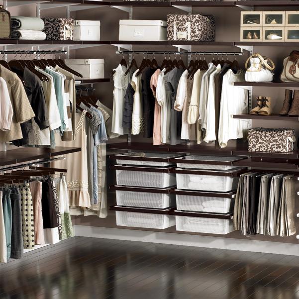 elfa decor Walk-In Closet Walnut & White