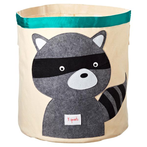 Raccoon Canvas Bin Grey/Turquoise
