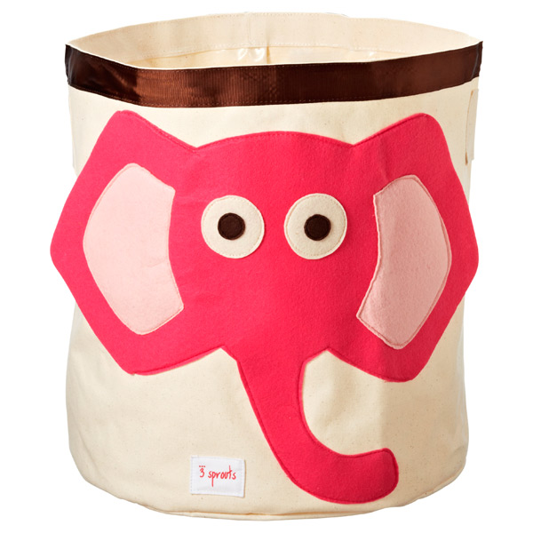 Elephant Canvas Bin Pink/Brown