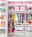 White elfa décor Girl's Reach-In Closet